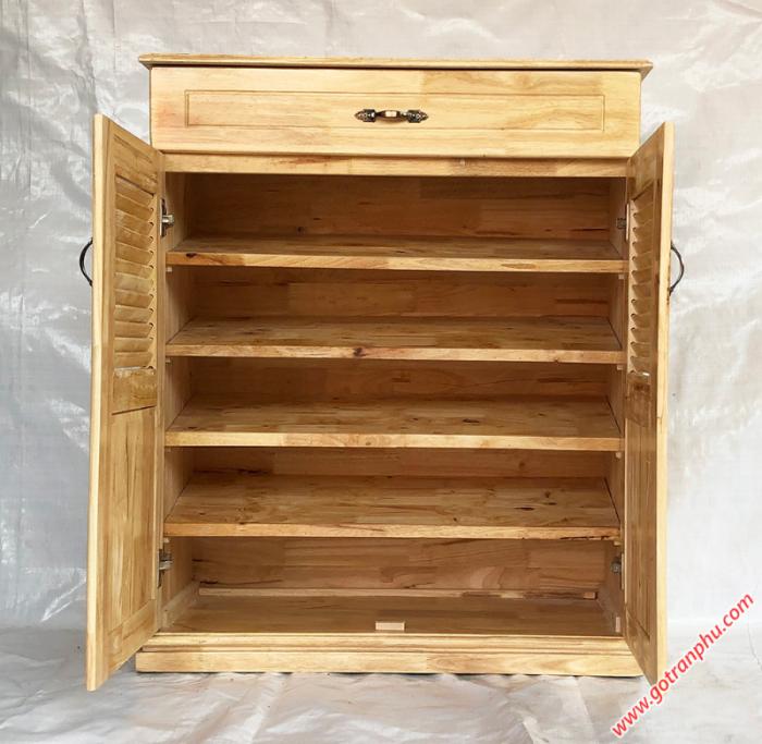 Tủ dép gỗ cao su 2 cánh 1 ngăn kéo 80cm3