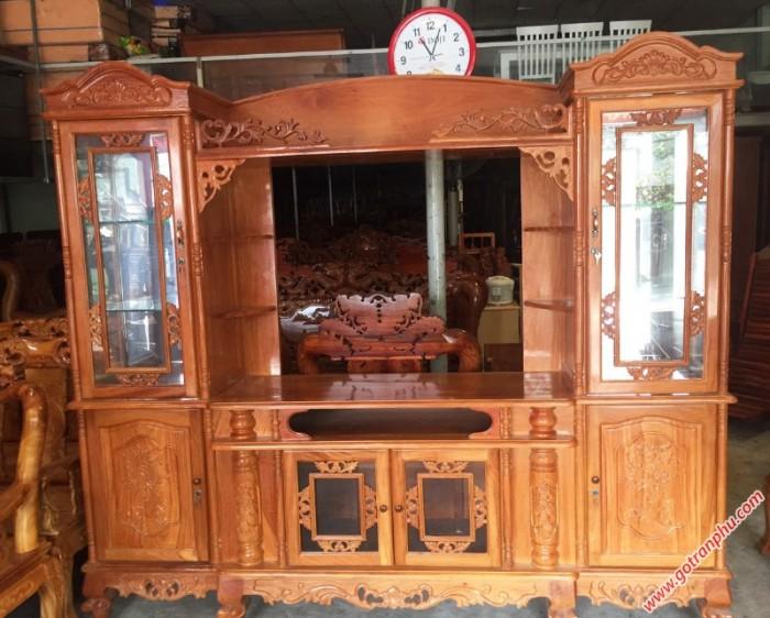 Tủ tv phòng khách gỗ gõ đỏ0