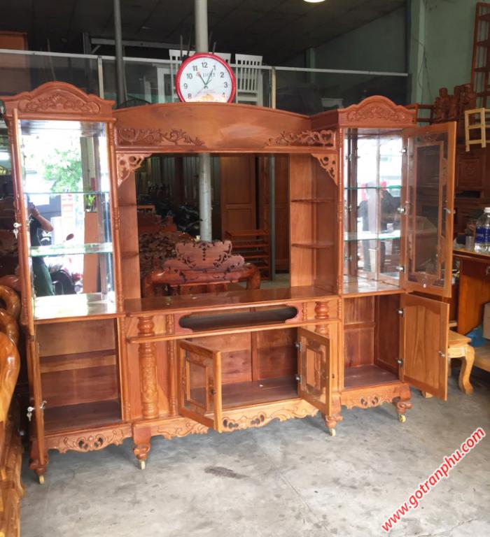 Tủ tv phòng khách gỗ gõ đỏ1