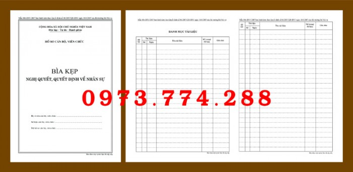 Bìa kẹp nhận xét, đánh giá, đơn thư (BNV) ban hành9