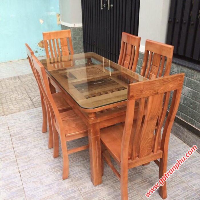 Bàn ăn đẹp gỗ Sồi Nga 2 tầng 6 ghế0