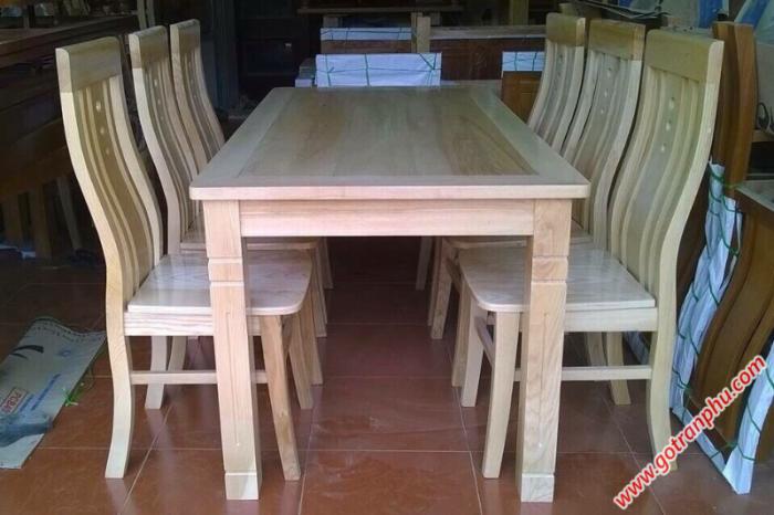 Bàn ăn đẹp gỗ sồi Nga 6 ghế BA051 mặt liền gỗ tự nhiên0