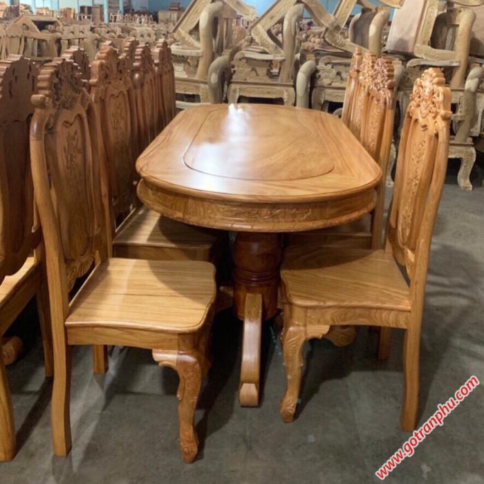 Bàn ghế ăn gỗ gõ đỏ hình bầu dục 8 ghế0