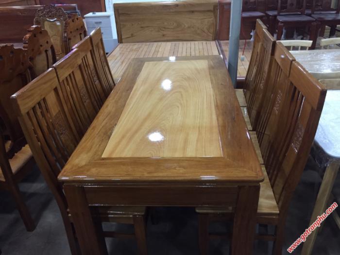 Bộ bàn ghế ăn gỗ căm gõ 8 ghế hình chữ nhật1