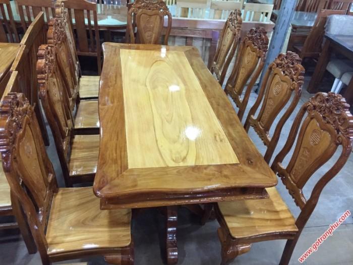 Bàn ăn giá rẻ gỗ căm gõ 8 ghế hình bánh tây1