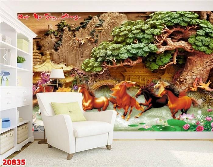 Tranh gạch men ốp tường 3d mẫu tranh con ngựa5