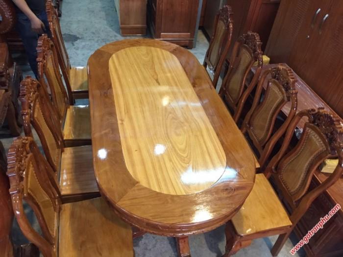 Bàn ghế ăn giá rẻ gỗ căm gõ 8 ghế hình bầu dục1