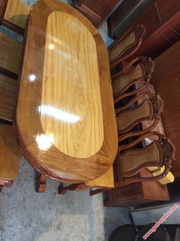 Bàn ghế ăn giá rẻ gỗ căm gõ 8 ghế hình bầu dục2