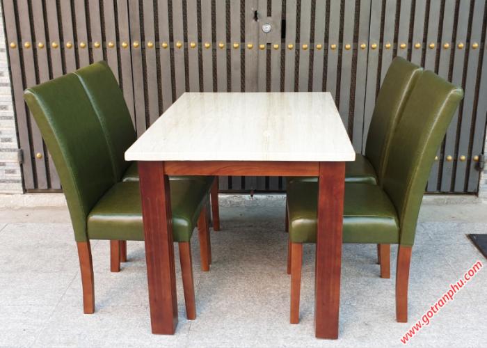Bàn ghế ăn mặt đá giá rẻ gỗ cao su 4 ghế0