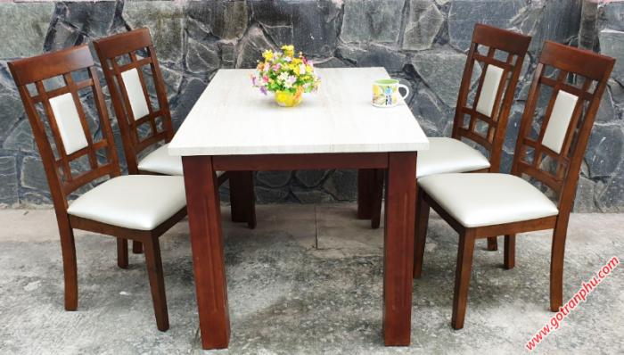Bộ bàn ăn đẹp 4 ghế gỗ cao su0