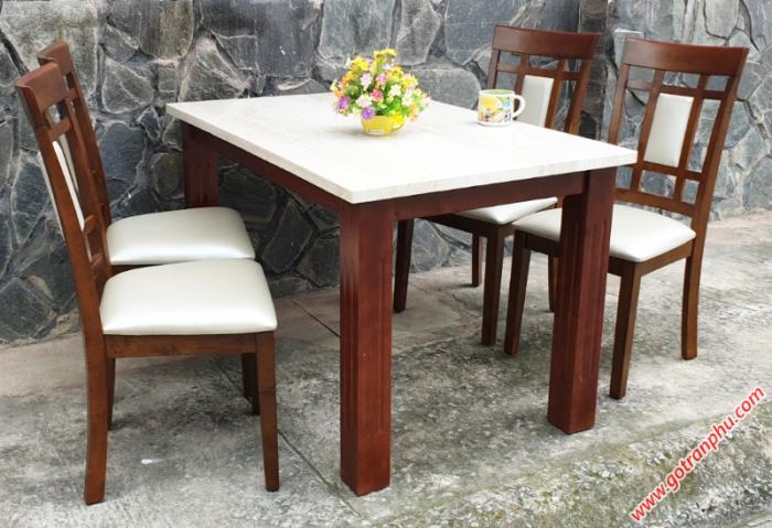 Bộ bàn ăn đẹp 4 ghế gỗ cao su1