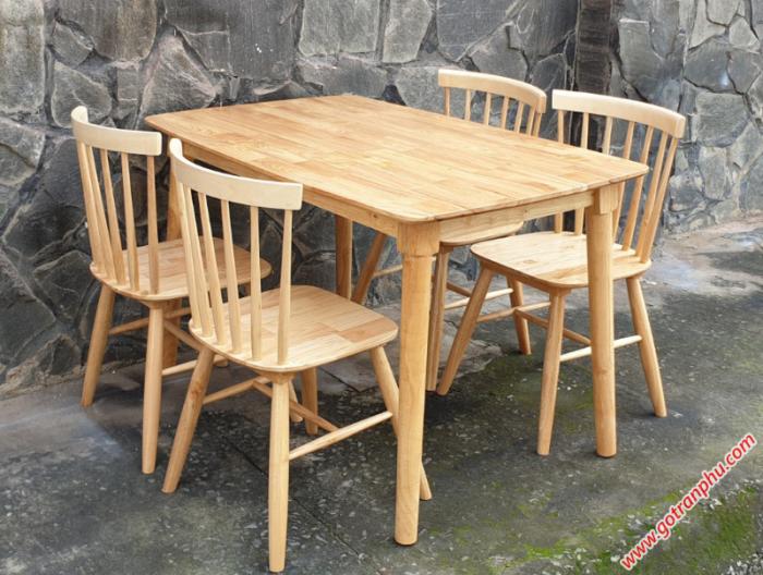 Bộ bàn ăn gỗ cao su 4 ghế cao cấp0