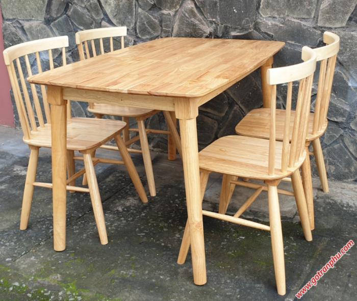 Bộ bàn ăn gỗ cao su 4 ghế cao cấp2