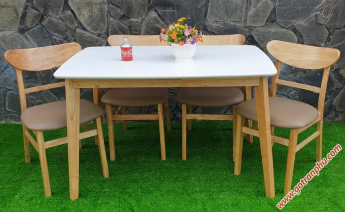 Bộ bàn ăn đẹp gỗ cao su 4 ghế cao cấp1