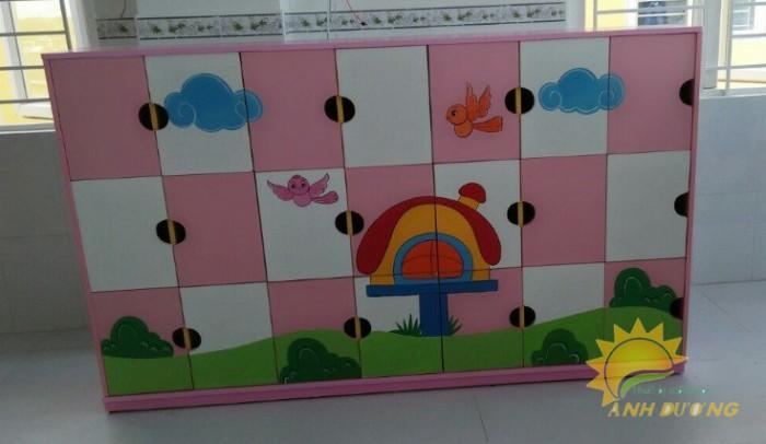 Tủ kệ gỗ trẻ em cho trường mầm non, lớp mẫu giáo, gia đình2