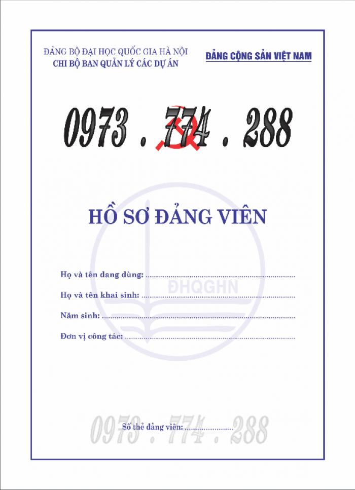 Bán lý lịch của người  xin vào đảng gồm có quyển bìa trắng, bìa xanh, bìa màu búa liềm14
