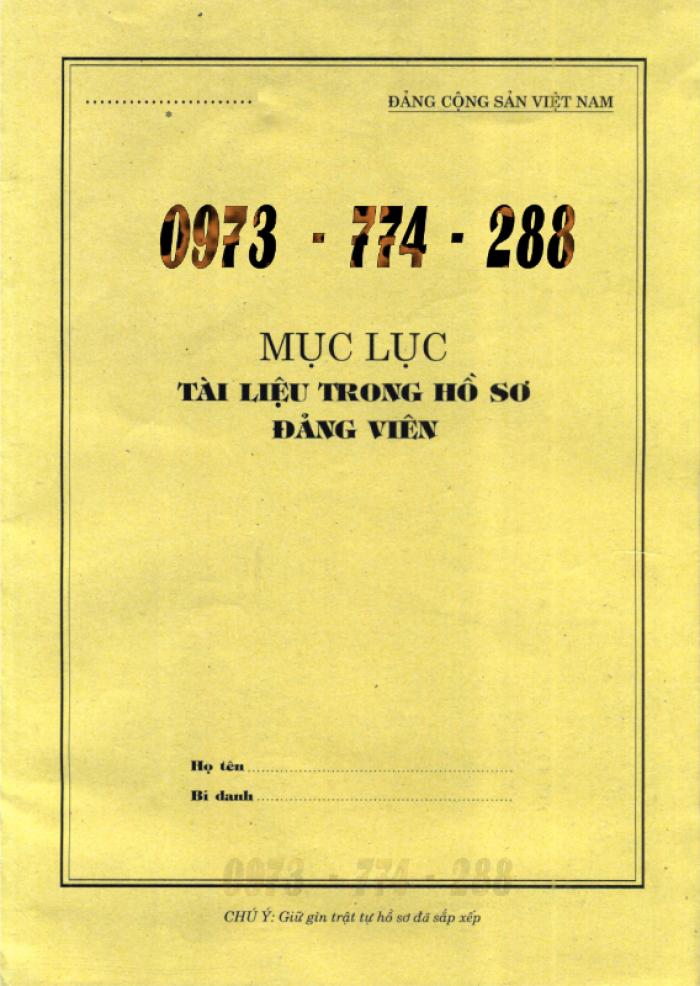 Lý lịch của người xin vào Đảng ''Bìa xanh''10