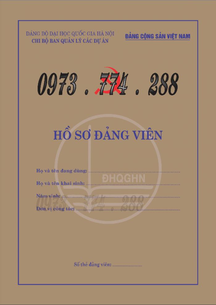Lý lịch Đảng viên mẫu 1 - HSĐV quyển bìa màu xanh15