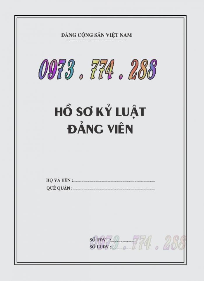 Lý lịch Đảng viên mẫu 1 - HSĐV quyển bìa màu xanh16
