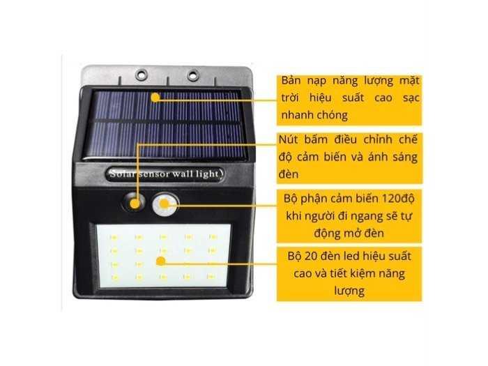 Đèn tích điện năng lượng mặt trời 20 LED