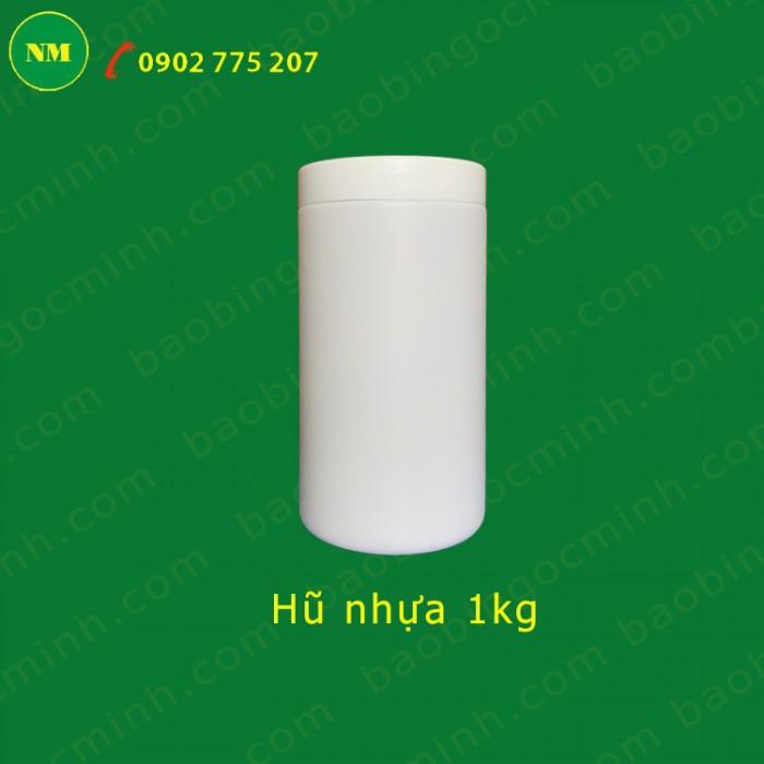 Hủ nhựa đựng bột ngũ cốc, hủ nhựa 1kg đựng phân bón.10