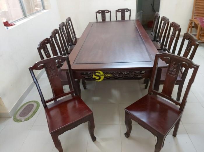 Bộ bàn ăn gỗ cao cấp 10 ghế0