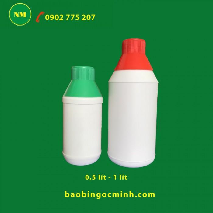 Chai nhựa 1 lít , chai nhựa hdpe, chai nhựa 1 lít đựng thuốc bảo vệ thực vật.2