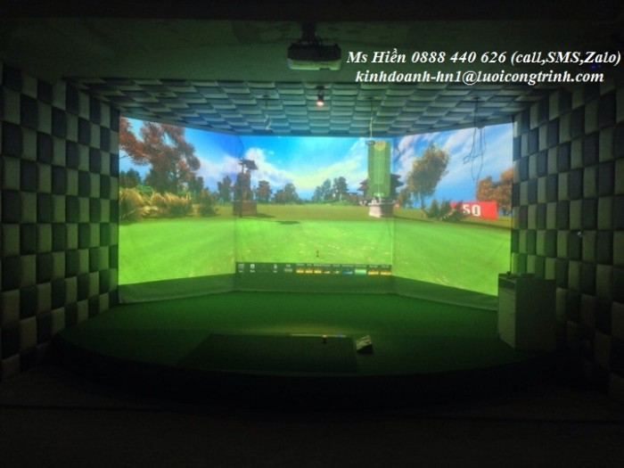 Phòng golf 3D mút xốp 3 màm hình1