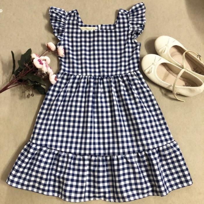 Đầm xòe bé gái caro xanh đen tay cánh tiên D04-XANHDEN1