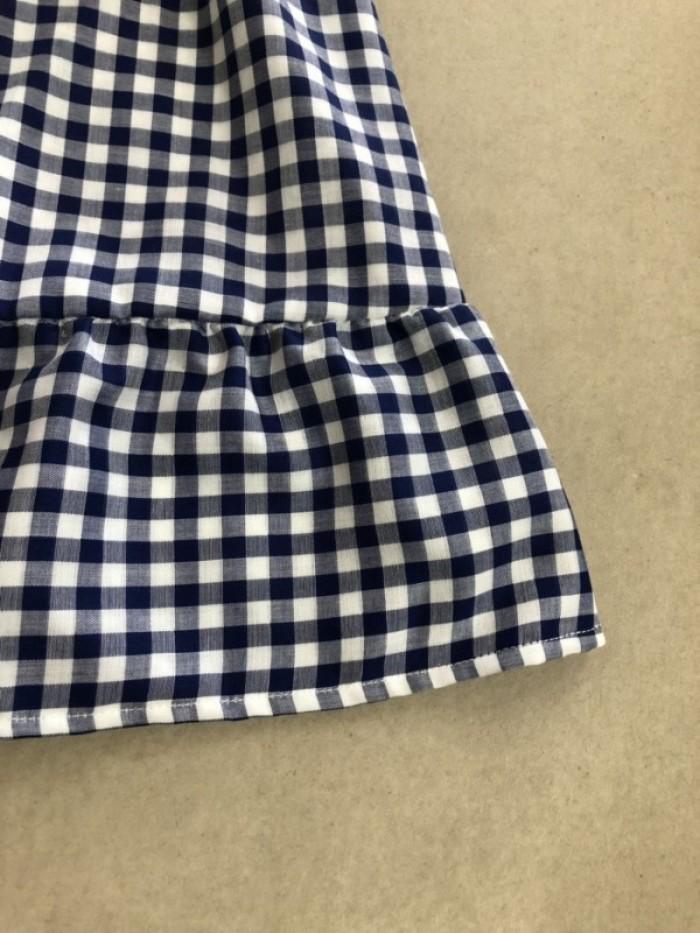 Đầm xòe bé gái caro xanh đen tay cánh tiên D04-XANHDEN3