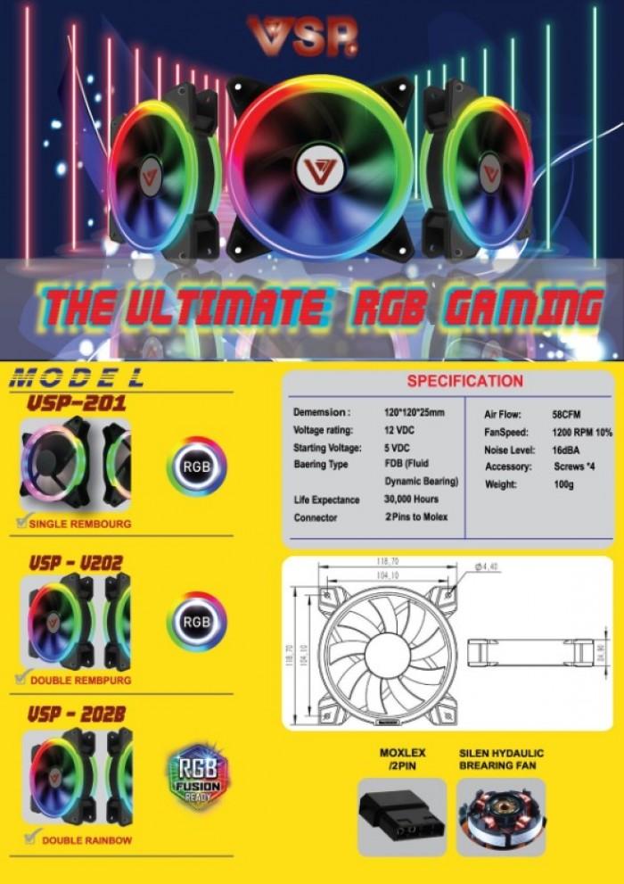 Fan Case VSP V202B Led 2 mặt tự động chuyển màu, gắn trực tiếp lên nguồn2