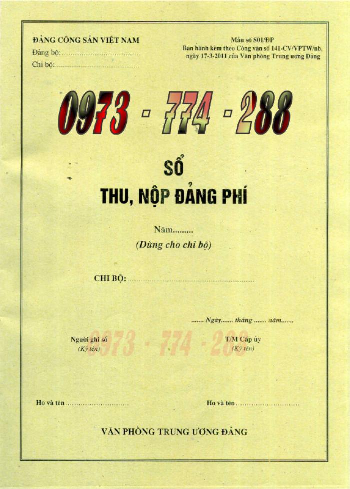 Xưởng in lý lịch của người xin vào Đảng (mẫu 2-KNĐ) và lý lịch Đảng viên mẫu (1-HSĐV)29