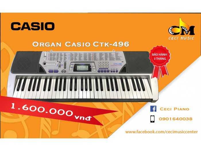 Organ Casio CTK496 likenew 90%0