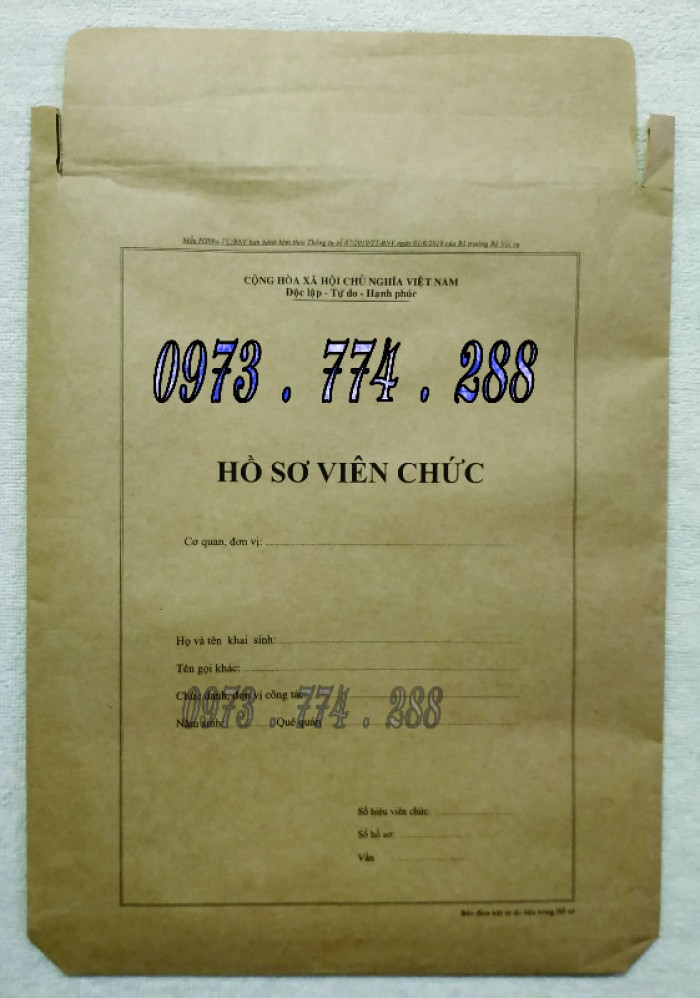 Bìa hồ sơ viên chức30