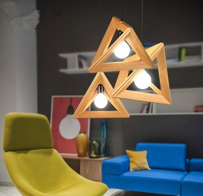 đèn thả gỗ hình học tam giác2