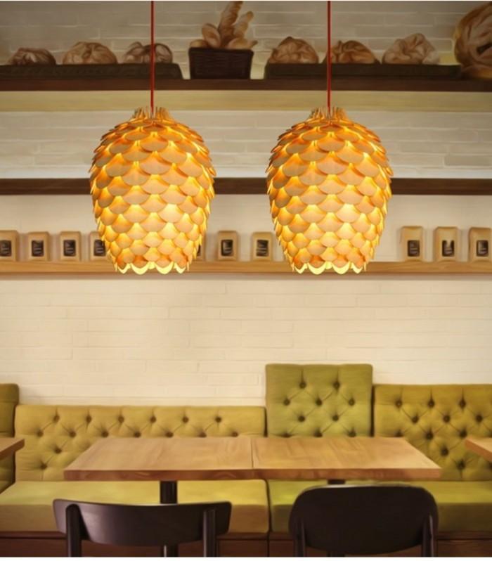Đèn gỗ trang trí thả trần hình quả thông dài12