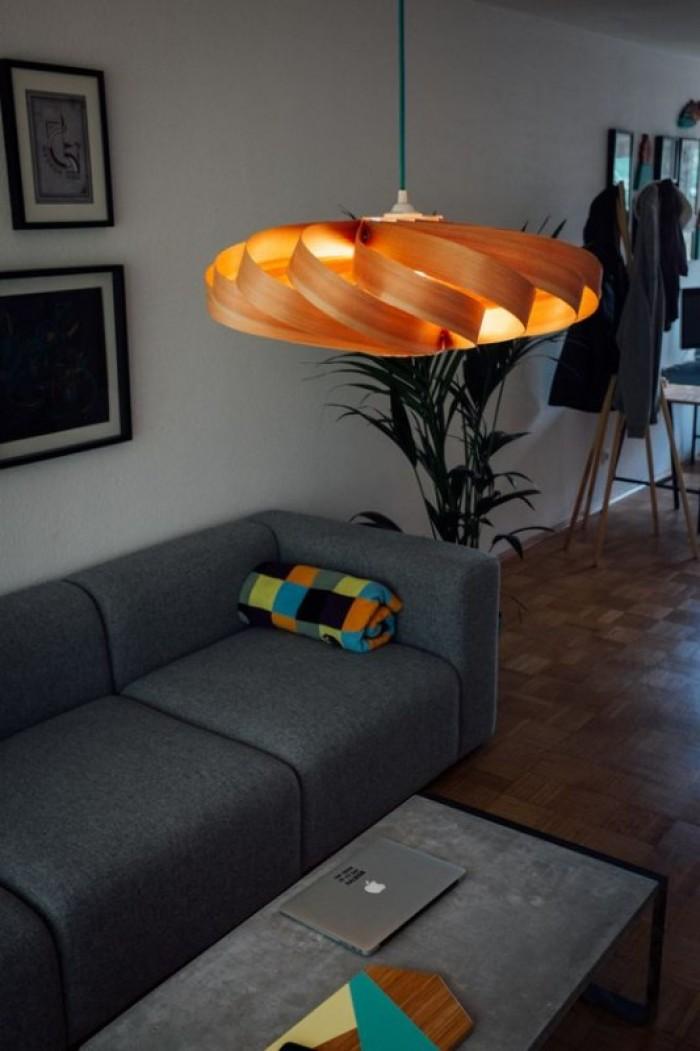 Đèn gỗ Pendulum từ gỗ veneer sồi - thiết kế đèn bàn ăn LS50502016