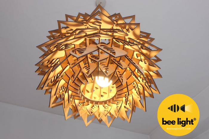 đèn thả trần bang92 gỗ hình bông24