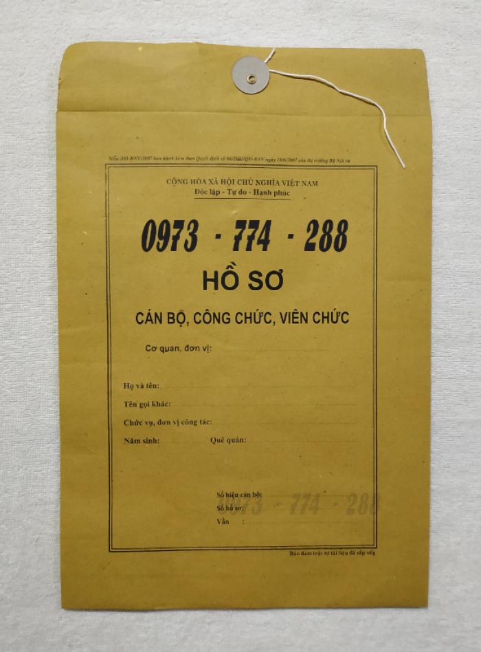 Túi hồ sơ công chức viên chức mẫu B0123