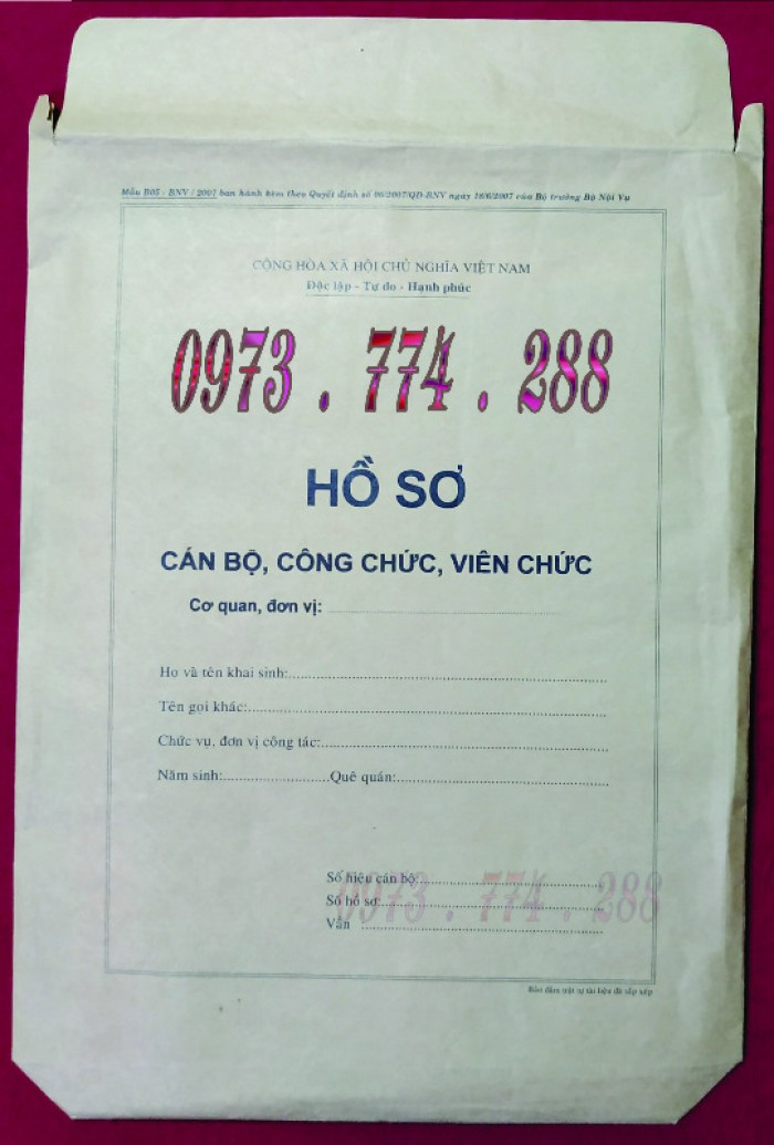 Túi hồ sơ công chức viên chức mẫu B0126