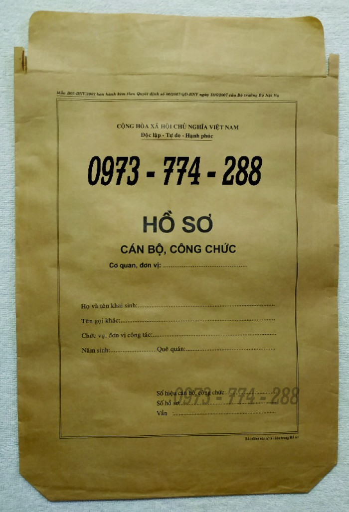 Túi hồ sơ công chức viên chức mẫu B0131