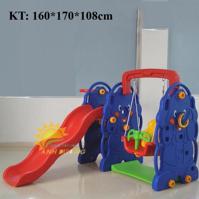 Bộ cầu trượt kèm xích đu cho trẻ em mầm non giá ưu đãi1