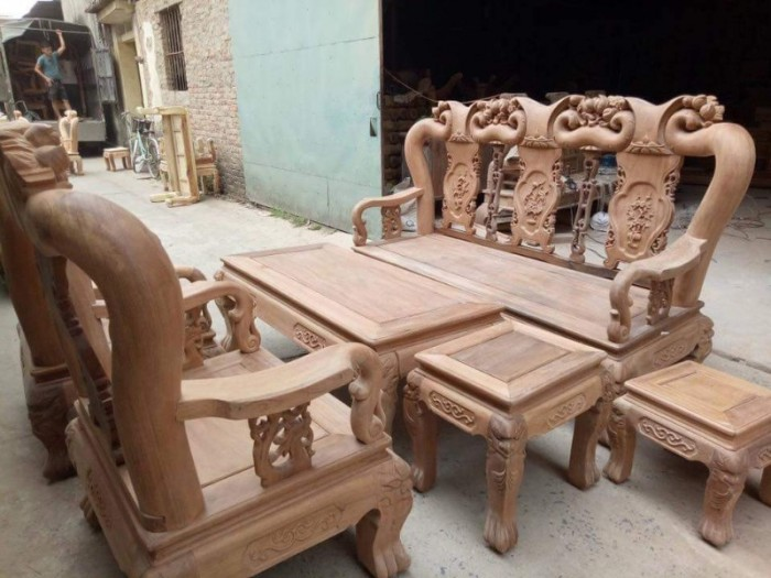 Bộ bàn ghế giả cổ minh quốc đào gỗ gụ10