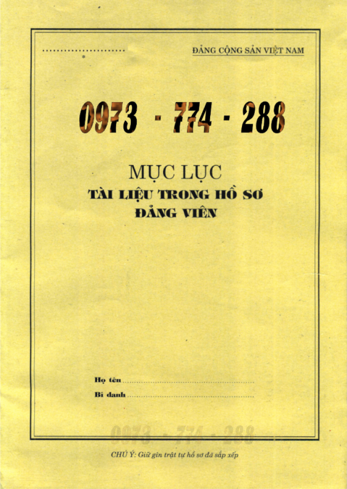 Bán bộ hồ sơ Đảng viên11