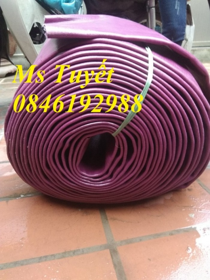 Ống bạt PVC hút nước màu xanh, hút cát màu vàng, tải sỏi màu tím2