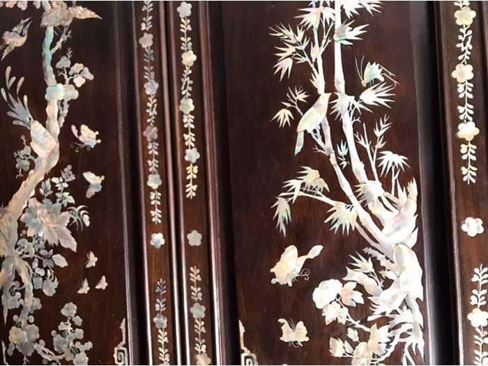 Bộ tranh tùng trúc cúc mai gỗ gõ mật xưa2
