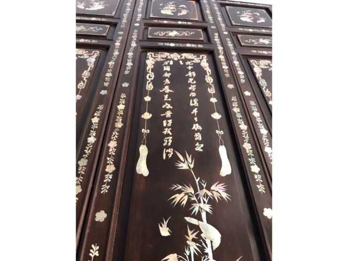 Bộ tranh tùng trúc cúc mai gỗ gõ mật xưa3