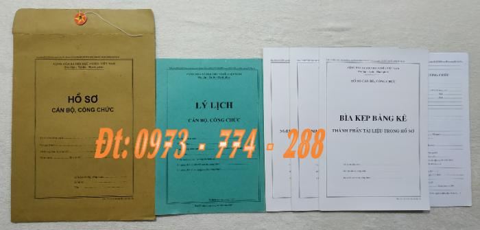 Hồ sơ viên chức mẫu HS01, HS02, HS03, HS04, HS05, HS06, HS09 -VC/BNV6