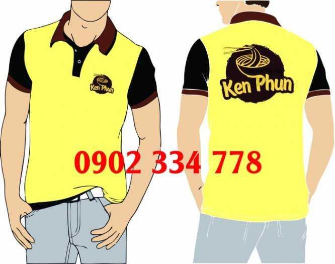 Áo thun đồng phục màu vàng nhạt phối đen0