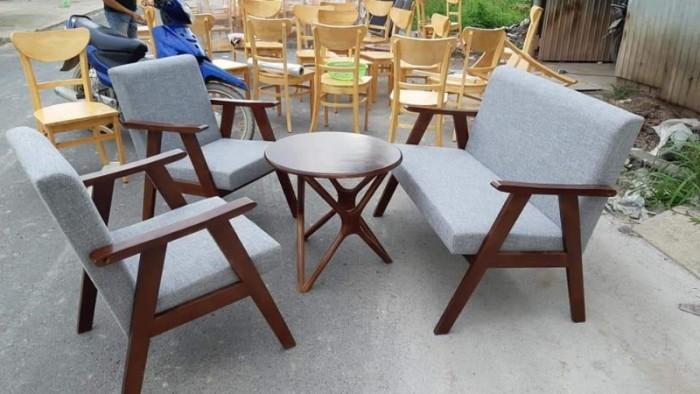Sofa gỗ bọc nệm màu Da Bò cực đẹp và sang1